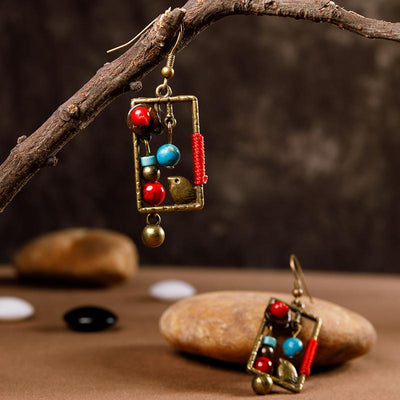 Exquisite Bird Square Beads Alloy Earrings