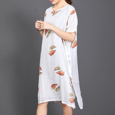 Fallen Leaves Split Hem Comfortable Dress