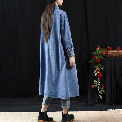 Fashion Classic Wild Solid Color Denim Long Coat