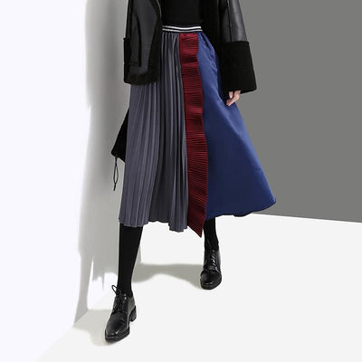 Fashion Half Pleated Spliced A-Line Skirt
