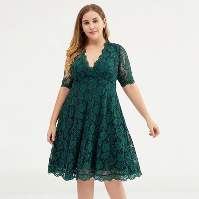 Fashion Polyester Lace V-Neck Plus Size Women Dress