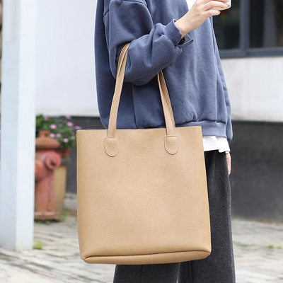 Fashion Simple Pure Color PU Handbag