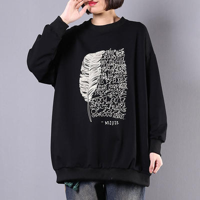 Feather And Letters Casual Loose Sweatshirt