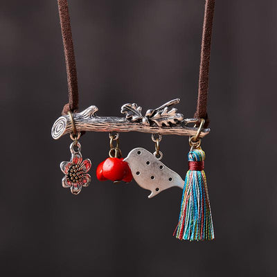 Female Animal And Tassel Necklace