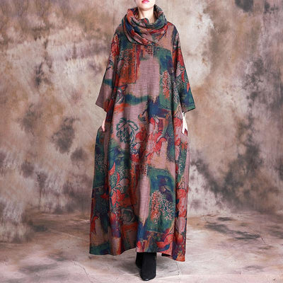 Floral Casual Soft Comfortable Dress With Scarf