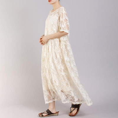 Floral Embroidery Loose Elegant Dress With Lining