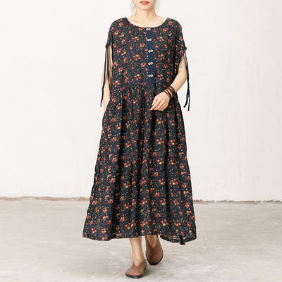 Floral Print Soft Comfortable Short Sleeve Dress