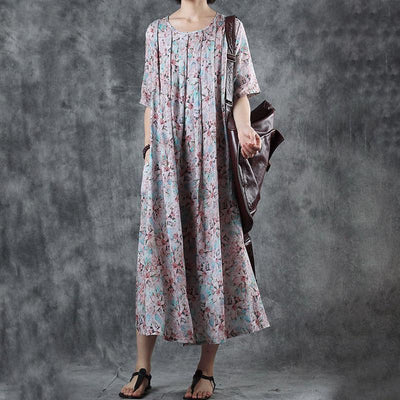 Floral Printed Pleated Short Sleeve Midi Dress