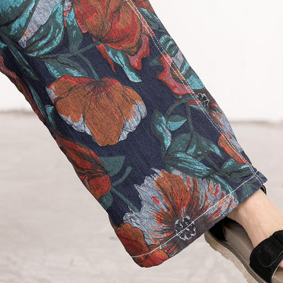 Floral Printed Pockets Casual Loose Jumpsuit
