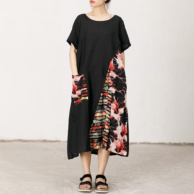 Floral Printed Spliced Loose Round Collar Dress