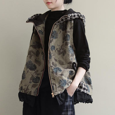 Floral Stitching Plaid Casual Hooded Waistcoat