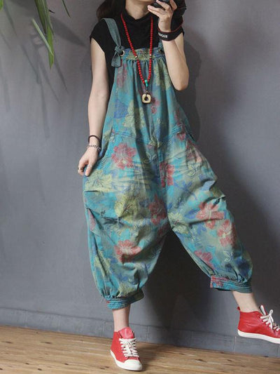 Flower Printed Hole Loose Casual Jumpsuit