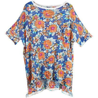 Flower Printed Soft Loose Knitting T-Shirt