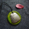 Green Wood Ring Alloy Pendant Necklace