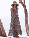 Printed Backless Halterneck Maxi Dress