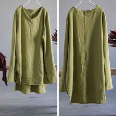 High Low Hem Loose Comfortable Long Sleeve T-Shirt