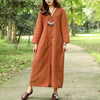 Women Spring Autumn V Neck Single Breasted Orange Dress