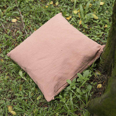 Cotton Linen Comfortable Square Pink Pillow