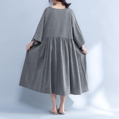 V Neck Three Quarter Sleeve Loose Gray Dress