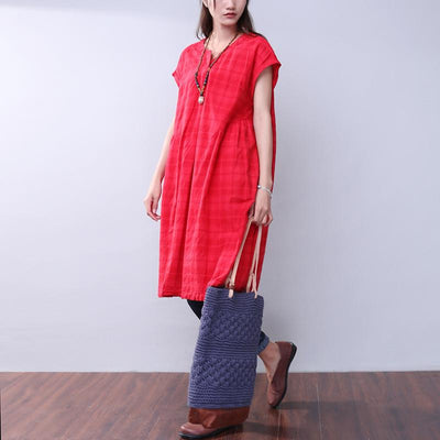 Summer Lattice Women Red Dress