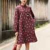 Winter Printing Retro Floral Cotton Dress For Women