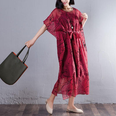 Spring Summer Round Neck Short Sleeve Printed Red Dress
