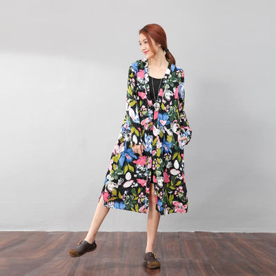 Vintage Floral Printed Ethnic Women Cotton Linen Side Slit Dress