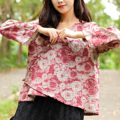 Autumn Winter Cotton Linen Casual Red Women Shirt