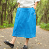 Loose Embroidered Calf Length Blue Women Skirt