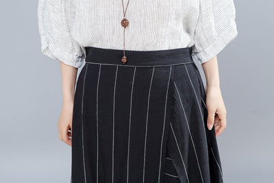 Loose Stripe Women Casual Calf Length Skirts