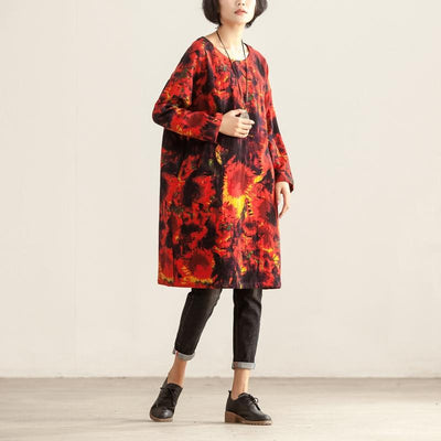 Women Loose Round Neck Long Sleeve Red Printing Dress