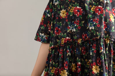 Casual Short Sleeve Pockets Floral Pleated Lacing Dress