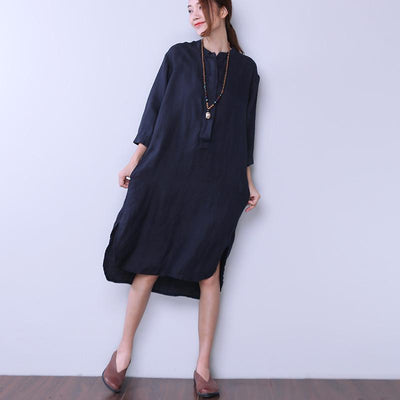 Loose Women Casual Cotton Irregular Navy Blue Dress