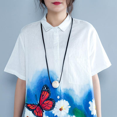 Irregular Casual Print Polo Collar Short Sleeve Blouse