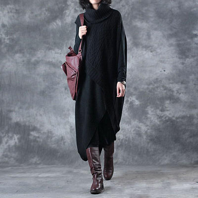 Irregular Hem Design Elegant Turtleneck Sweater