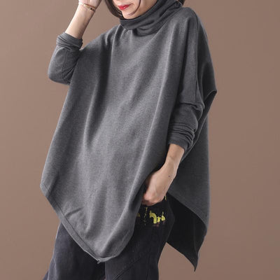 Plus Size - Irregular Hem Solid Color Loose Sweatshirt