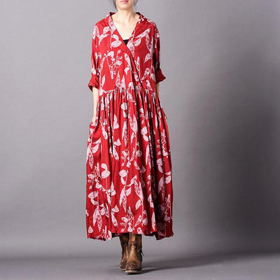 Irregular Print Loose Long Sleeve Dress