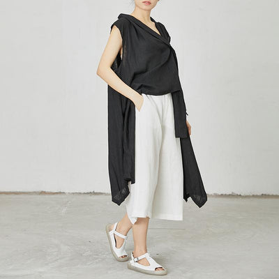 Irregular Pure Color Personality Sleeveless Top