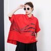 Irregular Stripes High Low Hem Casual T-Shirt