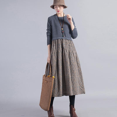 Knit Stitching Floral Printed Casual Dress