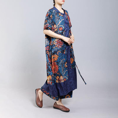 Lacing Floral Printed Casual Two Piece Set