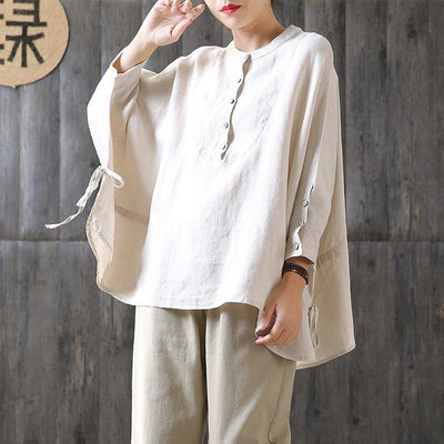 Lacing Loose Batwing Sleeve Literary Blouse