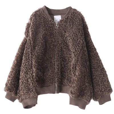 Lamb Wool Casual Zip Thermal Short Coat