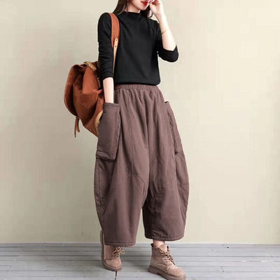 Large Pocket Casual Loose Thick Warm Pants