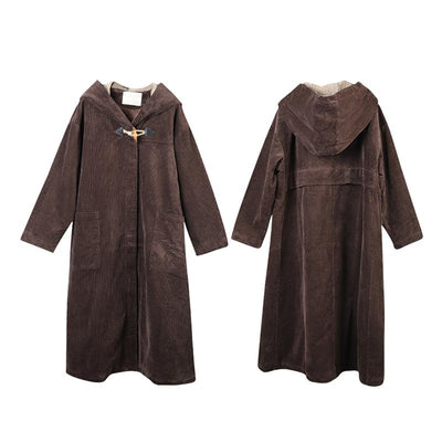 Plus Size - Large Pockets Casual Thermal Hooded Overcoat