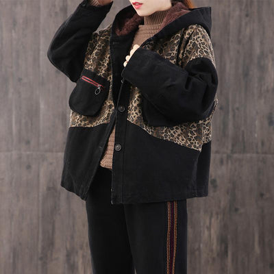 Leopard Print Stitching Casual Winter Coat
