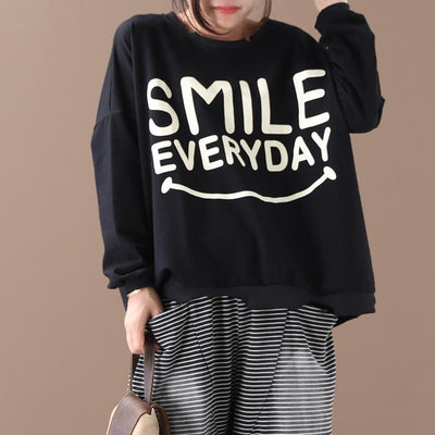 Letter Printed Long Sleeve Loose Sweatshirt