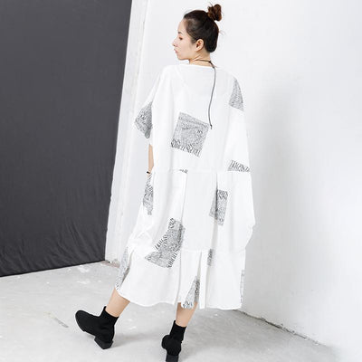 Letter Square Printed Pleated Midi Dress