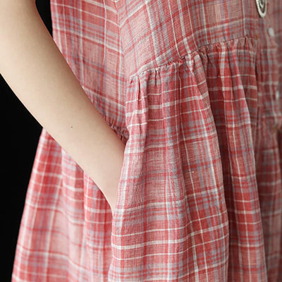 Linen Plaid Short Sleeve Casual Dress