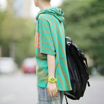 Literary Patchwork Loose Hooded Short Sleeve T-Shirt